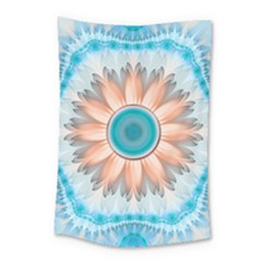 Clean And Pure Turquoise And White Fractal Flower Small Tapestry