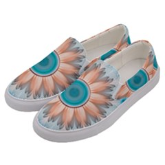 Clean And Pure Turquoise And White Fractal Flower Men s Canvas Slip Ons by jayaprime