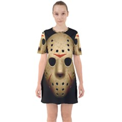 Jason Hockey Goalie Mask Sixties Short Sleeve Mini Dress