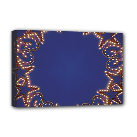 Blue Gold Look Stars Christmas Wreath Deluxe Canvas 18  X 12   by yoursparklingshop