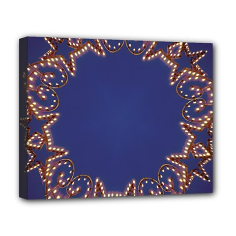 Blue Gold Look Stars Christmas Wreath Deluxe Canvas 20  X 16   by yoursparklingshop