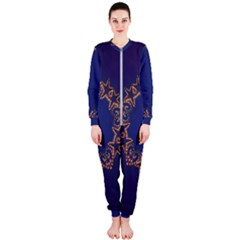 Blue Gold Look Stars Christmas Wreath Onepiece Jumpsuit (ladies)  by yoursparklingshop