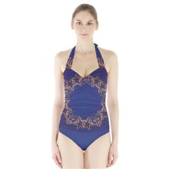 Blue Gold Look Stars Christmas Wreath Halter Swimsuit by yoursparklingshop