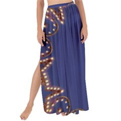 Blue Gold Look Stars Christmas Wreath Maxi Chiffon Tie Up Sarong