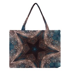 Kaleidoscopic Design Elegant Star Brown Turquoise Medium Tote Bag by yoursparklingshop