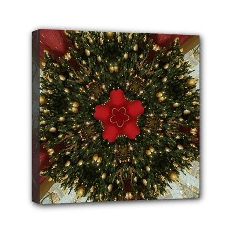 Christmas Wreath Stars Green Red Elegant Mini Canvas 6  X 6  by yoursparklingshop