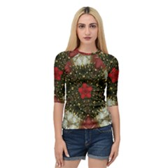Christmas Wreath Stars Green Red Elegant Quarter Sleeve Raglan Tee by yoursparklingshop