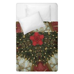 Christmas Wreath Stars Green Red Elegant Duvet Cover Double Side (single Size) by yoursparklingshop