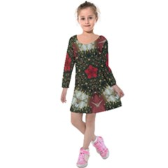 Christmas Wreath Stars Green Red Elegant Kids  Long Sleeve Velvet Dress by yoursparklingshop