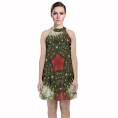 Christmas Wreath Stars Green Red Elegant Velvet Halter Neckline Dress  by yoursparklingshop