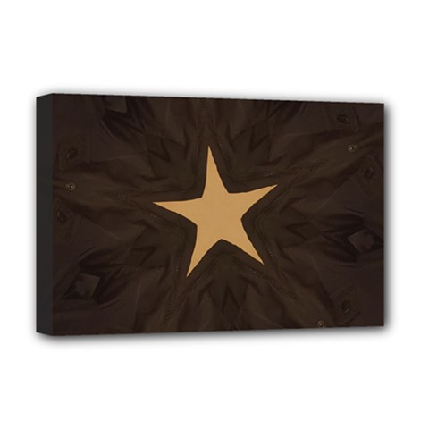 Rustic Elegant Brown Christmas Star Design Deluxe Canvas 18  X 12   by yoursparklingshop