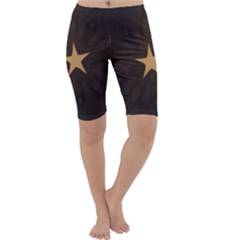 Rustic Elegant Brown Christmas Star Design Cropped Leggings  by yoursparklingshop