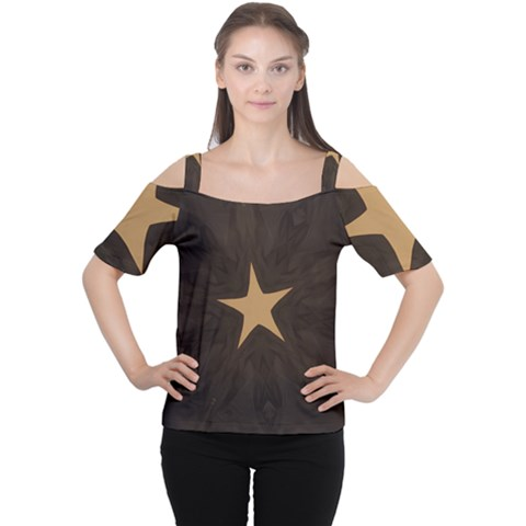 Rustic Elegant Brown Christmas Star Design Cutout Shoulder Tee by yoursparklingshop