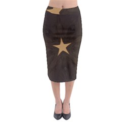 Rustic Elegant Brown Christmas Star Design Midi Pencil Skirt by yoursparklingshop