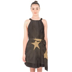 Rustic Elegant Brown Christmas Star Design Halter Collar Waist Tie Chiffon Dress by yoursparklingshop