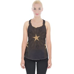 Rustic Elegant Brown Christmas Star Design Piece Up Tank Top by yoursparklingshop