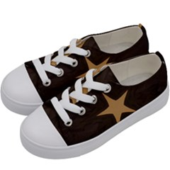 Rustic Elegant Brown Christmas Star Design Kids  Low Top Canvas Sneakers by yoursparklingshop