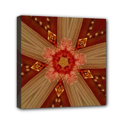 Red Star Ribbon Elegant Kaleidoscopic Design Mini Canvas 6  X 6  by yoursparklingshop