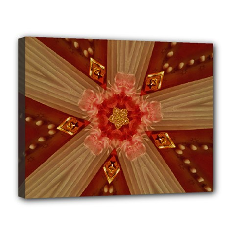Red Star Ribbon Elegant Kaleidoscopic Design Canvas 14  X 11  by yoursparklingshop