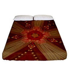 Red Star Ribbon Elegant Kaleidoscopic Design Fitted Sheet (california King Size) by yoursparklingshop