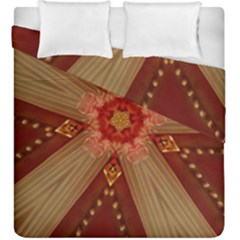 Red Star Ribbon Elegant Kaleidoscopic Design Duvet Cover Double Side (king Size)