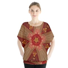 Red Star Ribbon Elegant Kaleidoscopic Design Blouse by yoursparklingshop
