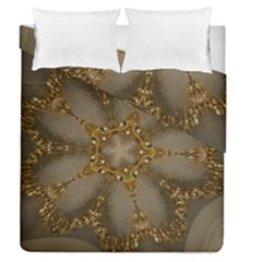 Golden Flower Star Floral Kaleidoscopic Design Duvet Cover Double Side (queen Size)
