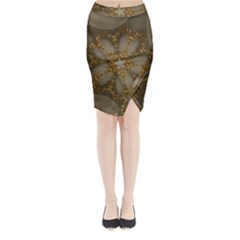 Golden Flower Star Floral Kaleidoscopic Design Midi Wrap Pencil Skirt by yoursparklingshop