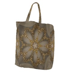 Golden Flower Star Floral Kaleidoscopic Design Giant Grocery Zipper Tote