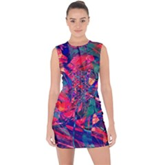 Abstract Acryl Art Lace Up Front Bodycon Dress
