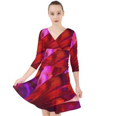 Abstract Acryl Art Quarter Sleeve Front Wrap Dress