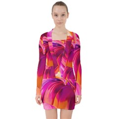 Abstract Acryl Art V Neck Bodycon Long Sleeve Dress