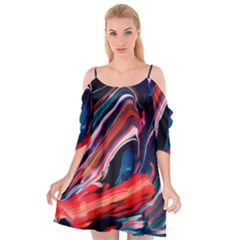 Abstract Acryl Art Cutout Spaghetti Strap Chiffon Dress
