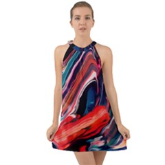 Abstract Acryl Art Halter Tie Back Chiffon Dress by tarastyle