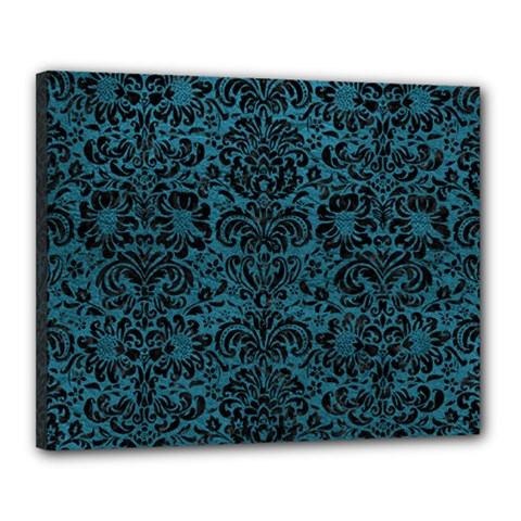 Damask2 Black Marble & Teal Leather Canvas 20  X 16  by trendistuff