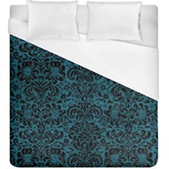 Damask2 Black Marble & Teal Leather Duvet Cover (king Size) by trendistuff
