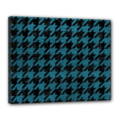 Houndstooth1 Black Marble & Teal Leather Canvas 20  X 16  by trendistuff