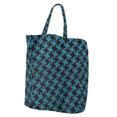Houndstooth2 Black Marble & Teal Leather Giant Grocery Zipper Tote by trendistuff