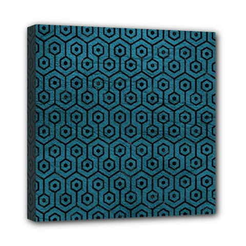 Hexagon1 Black Marble & Teal Leather Mini Canvas 8  X 8
