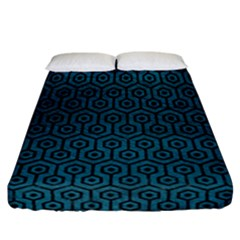 Hexagon1 Black Marble & Teal Leather Fitted Sheet (california King Size) by trendistuff