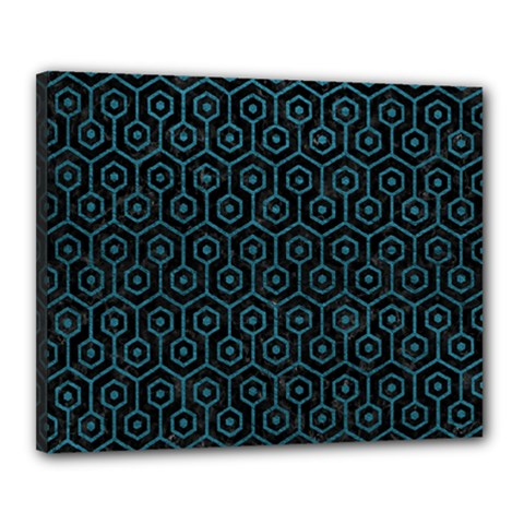 Hexagon1 Black Marble & Teal Leather (r) Canvas 20  X 16  by trendistuff