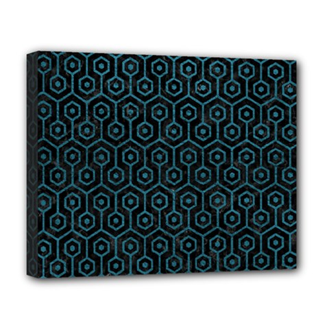 Hexagon1 Black Marble & Teal Leather (r) Deluxe Canvas 20  X 16   by trendistuff