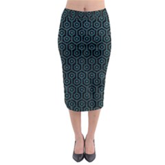 Hexagon1 Black Marble & Teal Leather (r) Midi Pencil Skirt by trendistuff