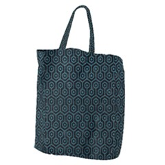 Hexagon1 Black Marble & Teal Leather (r) Giant Grocery Zipper Tote by trendistuff