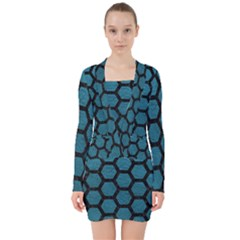Hexagon2 Black Marble & Teal Leather V Neck Bodycon Long Sleeve Dress