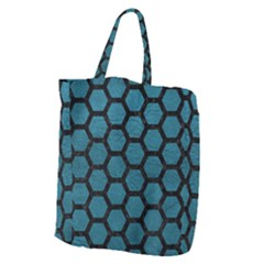 Hexagon2 Black Marble & Teal Leather Giant Grocery Zipper Tote by trendistuff