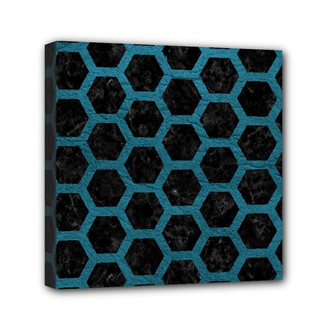 Hexagon2 Black Marble & Teal Leather (r) Mini Canvas 6  X 6  by trendistuff