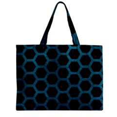 Hexagon2 Black Marble & Teal Leather (r) Zipper Mini Tote Bag by trendistuff