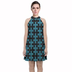 Puzzle1 Black Marble & Teal Leather Velvet Halter Neckline Dress