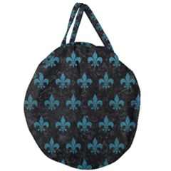 Royal1 Black Marble & Teal Leather Giant Round Zipper Tote
